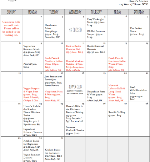 Haven's Kitchen July Class Schedule